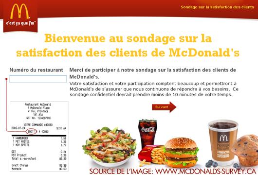 Sondage Mcdonalds - 1000$ à gagner chaques semaines