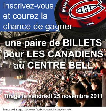 Billets à gagner pour le canadien