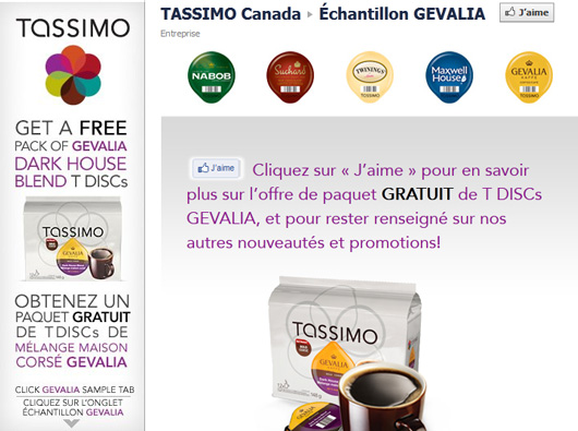 Échantillons gratuits Tassimo