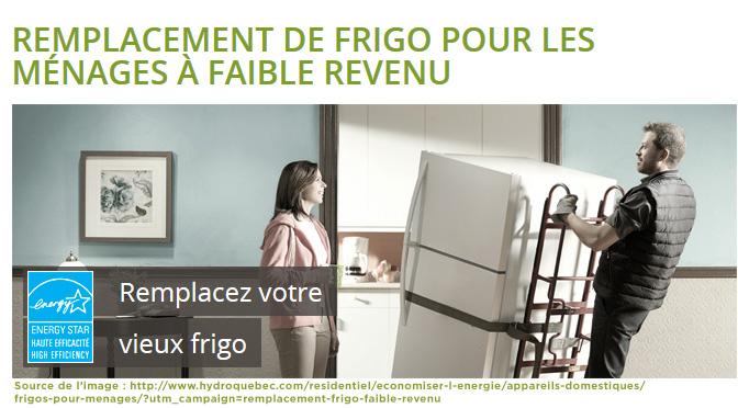 frigo neuf pour 75 120 programme de remplacement hydro qu bec egq. Black Bedroom Furniture Sets. Home Design Ideas