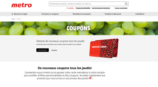 Site de coupon - Metro