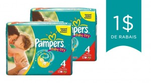 Coupon rabais sur les couches Pampers