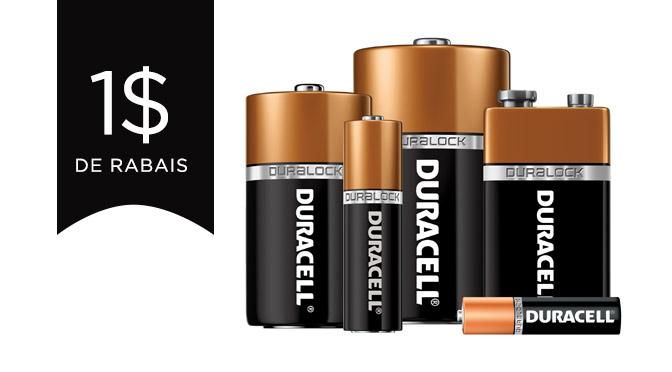Coupon rabais pour les batteries duracell