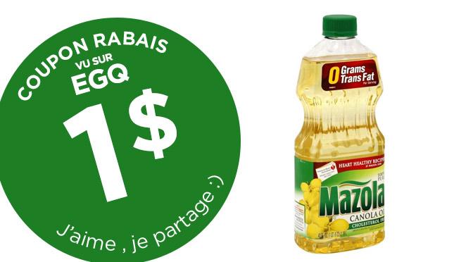 coupon rbais huile Mazola