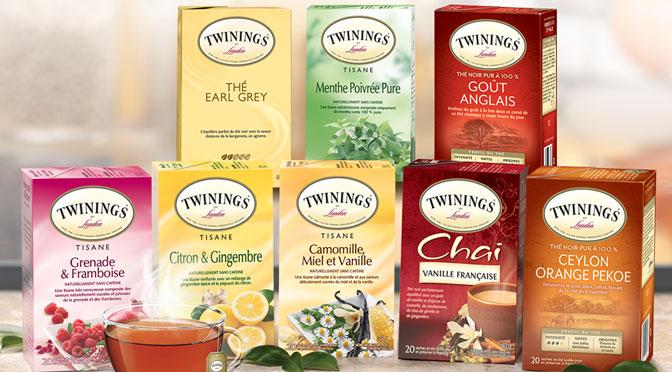 échantillons de tisanne et thé twinings