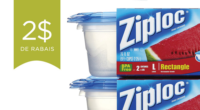 Coupon rabais ziploc de 2$