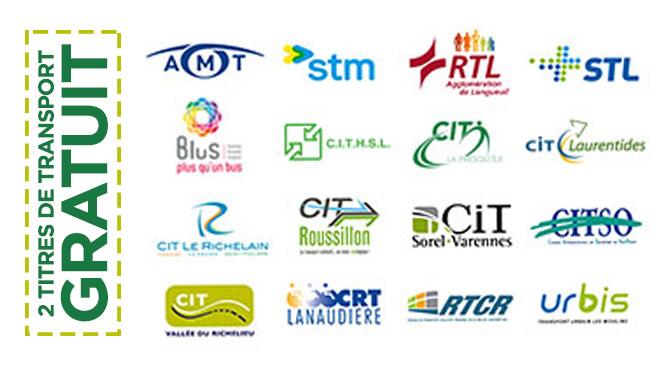 Billet gratuit transport en commun STM RTL CIT STL