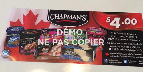 Coupon rbais de 4$ Chapman's