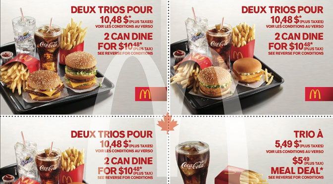Favori Coupons-rabais Mcdonald's Mobile ou à imprimer | EGQ ND03
