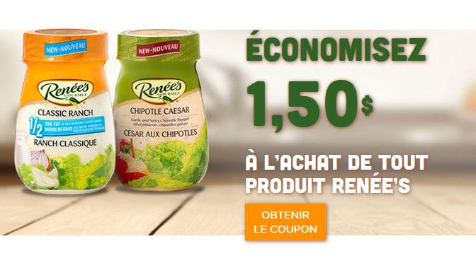 coupon rabais de 1,50 vinaigrette renée