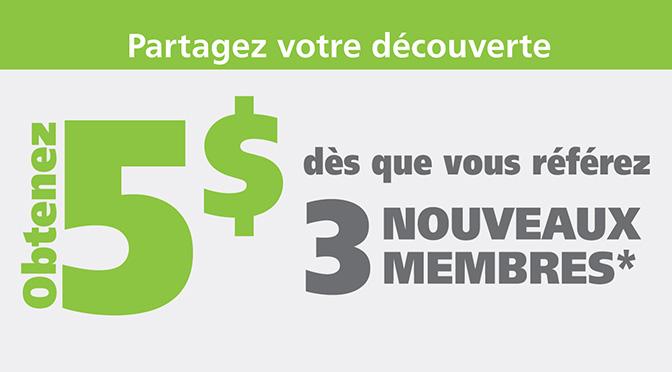 Obtenir 5$ bonus en partageant avec vos amis !