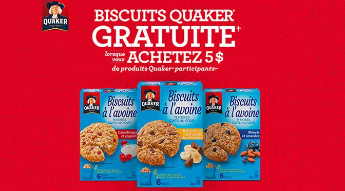 Boîte de biscuits Quaker Gratuite avec coupon !