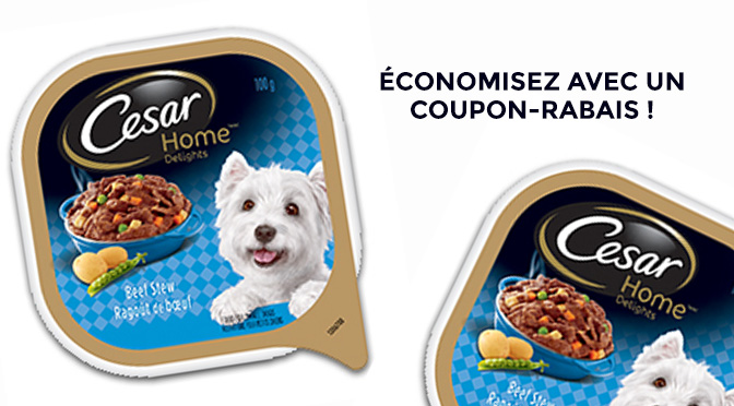 coupon-rabais nourritue cesar humide pour chien