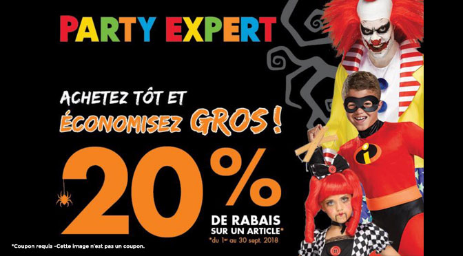 Coupon rabais Party expert Halloween 2018
